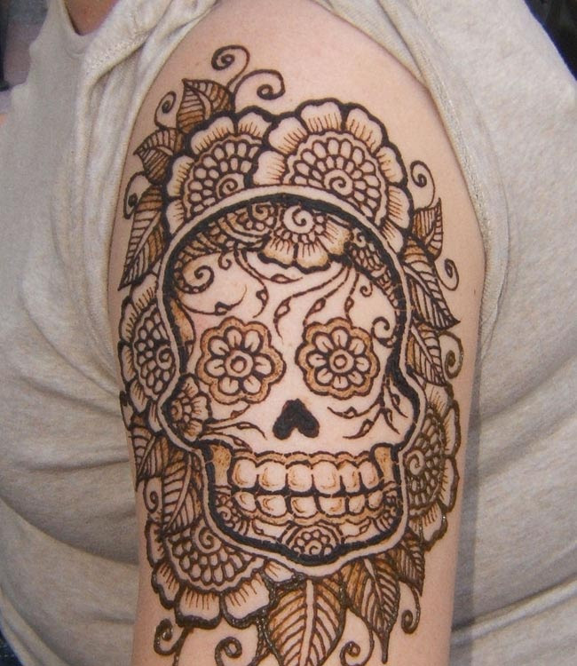 Sugar Skull Henna Tattoo On Half Sleeve