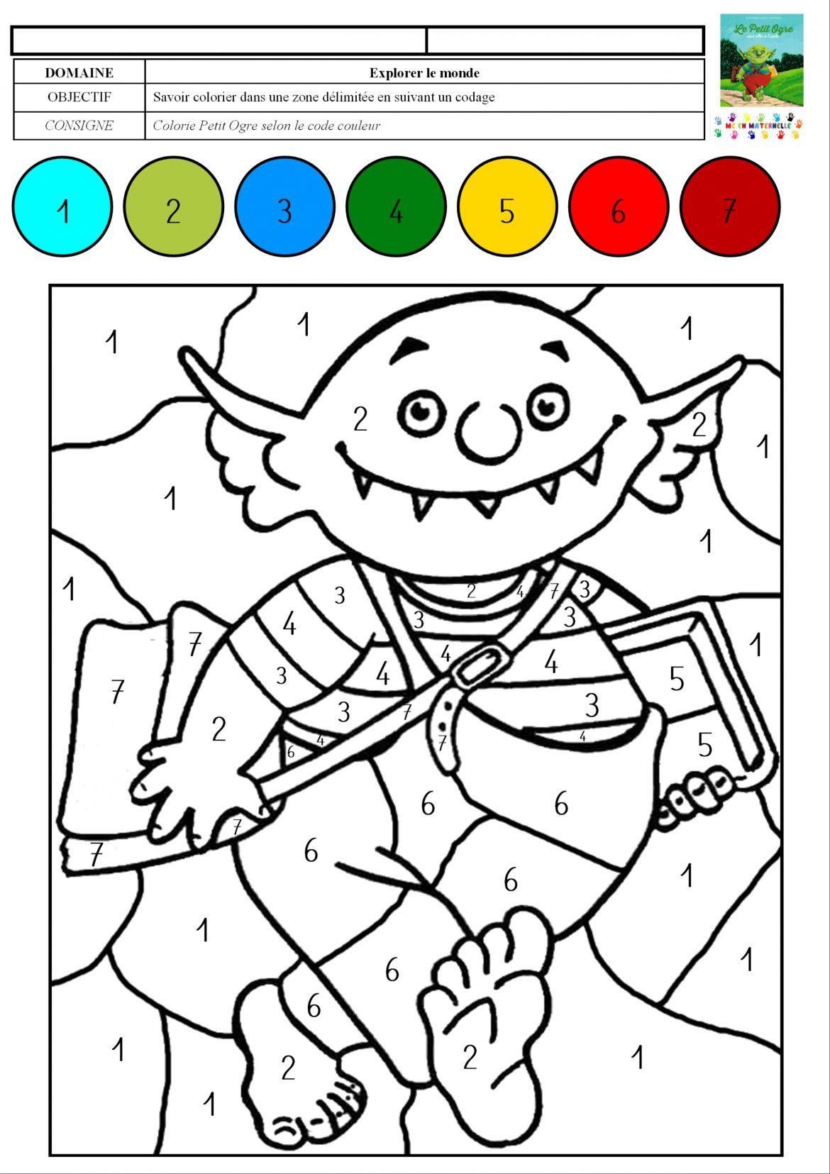 Le petit ogre veut aller  l école coloriage magique avec des chiffres de 1  7