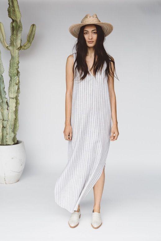 Le Fashion Blog Jenni Kayne Resort 2016 Straw Hat Striped Sleeveless Maxi Dress Croc Oxfords Via Style Com