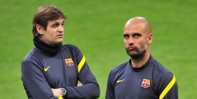 Tito Vilanova, ici à gauche, prend la suite de Guardiola. (AFP)