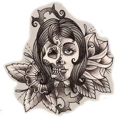 Half Skull And Half Girl Tattoo Design