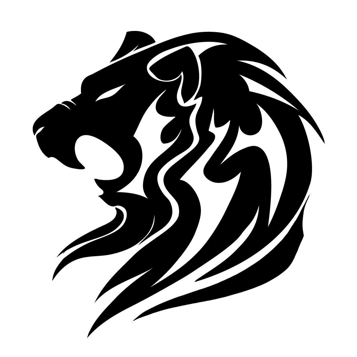 Quality Black Tribal Lion Tattoo Design
