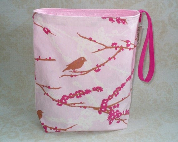 Pink Sparrows ReUsable trash can, eco-friendly, hand made