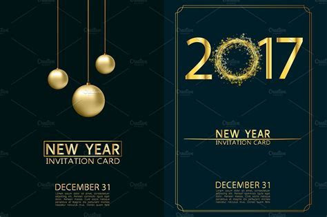 New Year invitation cards. Vector. ~ Illustrations