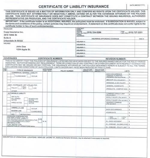 Certificate of Insurance | Cupp Insurance