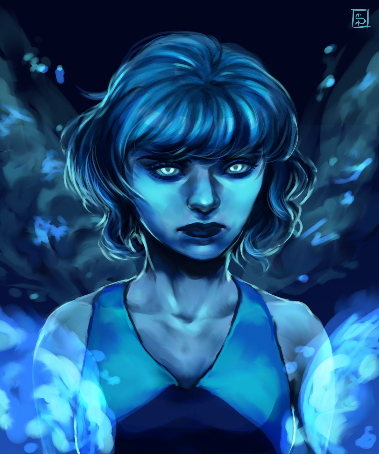 She wasn't supposed to look this ominous, but it was too late to change it. I like drawing her hair a lot but I dislike drawing water. I guess that's enough drawing for the day.