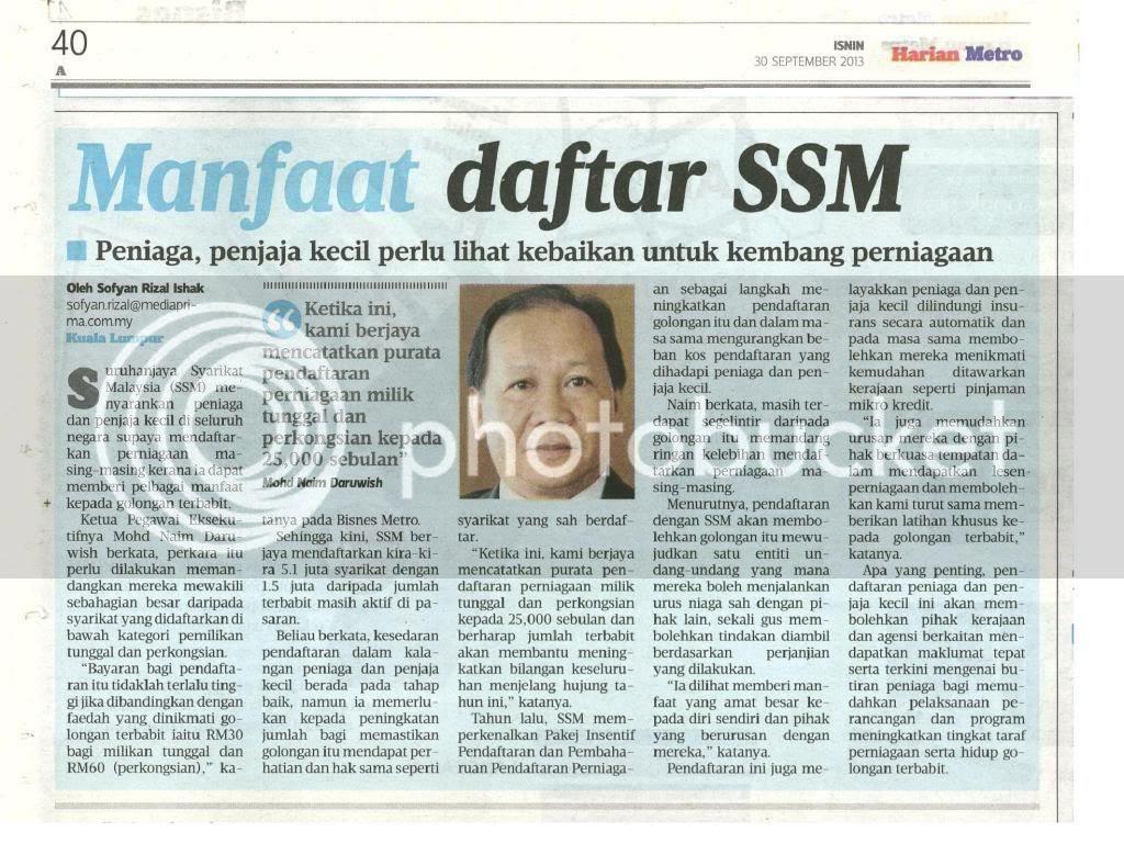 photo Harian Metro 30 September 2013, Keratan Akhbar ini ada rakan whatsapp kepada saya tahun lepas. Berguna juga untuk entri Pengalaman Mendaftar Syarikat Perniagaan ini :)