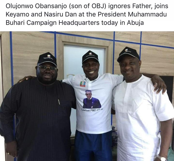 Obasanjo's Son Visits Buhari Campaign Headquarters (Photo)