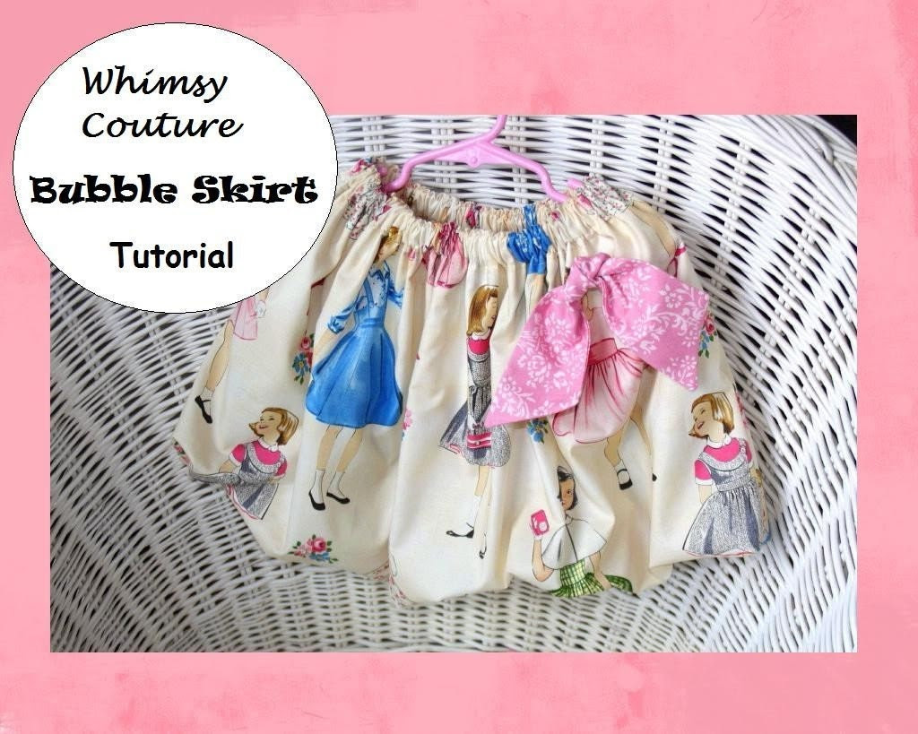 WHIMSY  COUTURE Sewing Pattern Tutorial for BUBBLE SKIRTS sizes 3m through 12  girls PDF