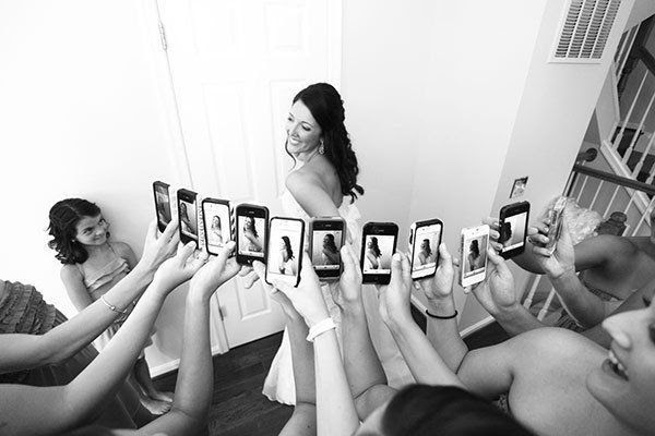And because you know they'll be Instagramming the sh*t out of your dress… | 42 Impossibly Fun Wedding Photo Ideas You'll Want To Steal - this made me giggle so hard
