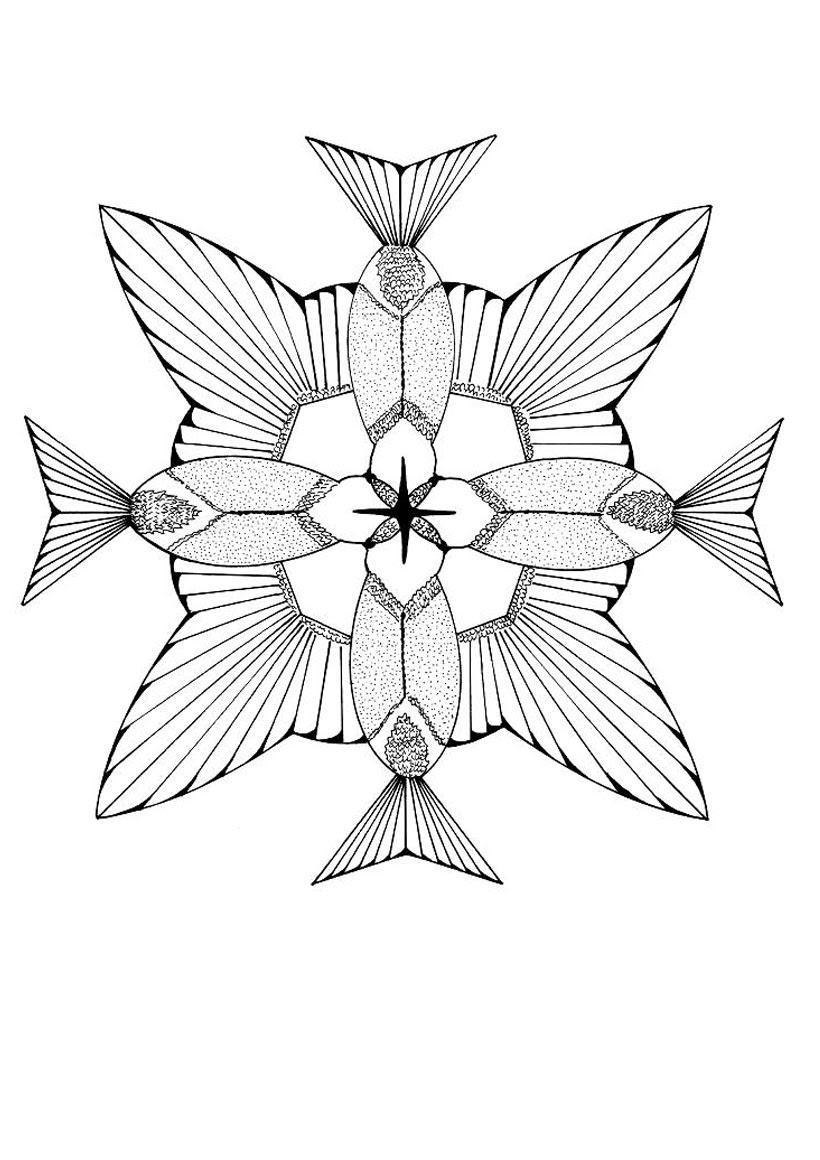 Coloriage de colibris formant une fleur