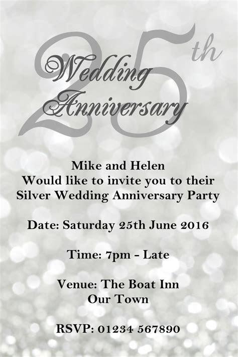 anniversary invitations  silver wedding anniversary