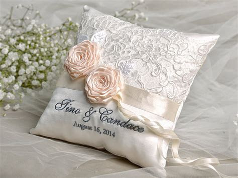 Lace Wedding Pillow, Ring Bearer Pillow Embroidery Names
