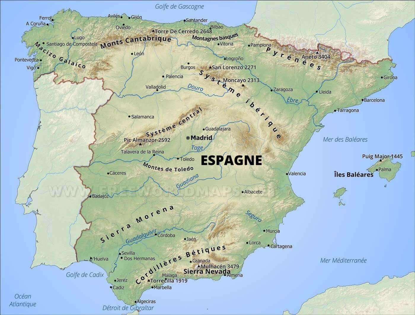 Carte Geographique Despagne
