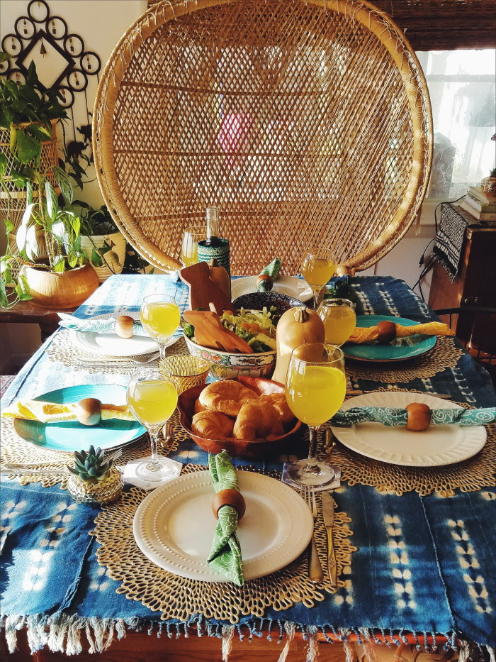 Moody colorful eclectic bohemian thanksgiving tablescape