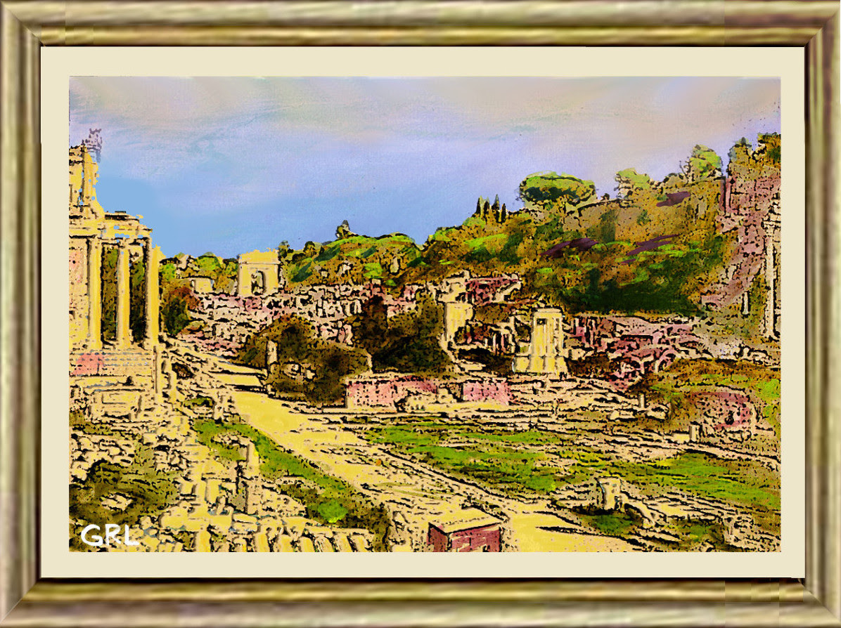 Forum, Rome, Afternoon. $13 to $24 small, medium-size, prints. Free downloads, wallpaper, GrlFineArt. Fine art work. These art works are based on my own original black and white photos, taken back in the 1950's.  For fine art decor, fineart,  multimedia classical traditional modern acrylic oil painting paintings prints.