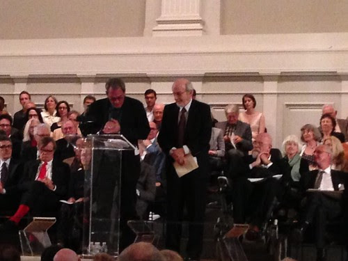Paul Auster presenting the Gold Medal to E. L. Doctorow