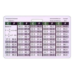 Amazon.com: Temperature Conversion Chart Horizontal Badge ID Card Pocket Reference Guide: Health ...
