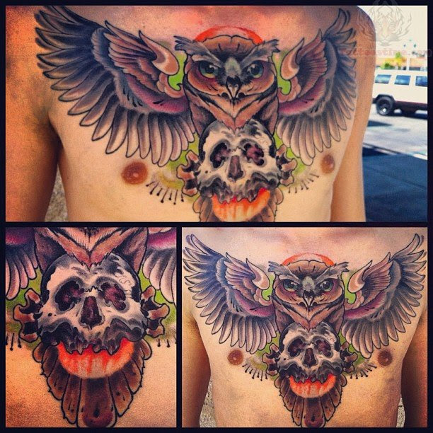Flying Owl And Skull Tattoo On Chest