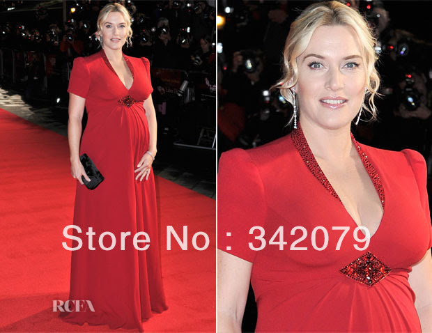 Red evening maternity dress