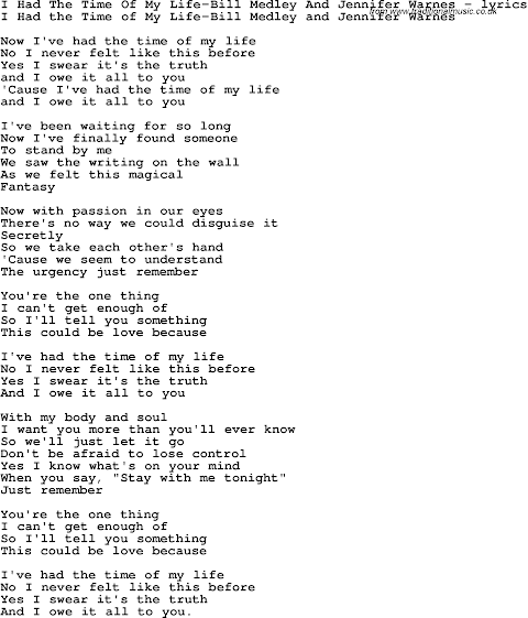 Song Lyrics This Time I Want It All