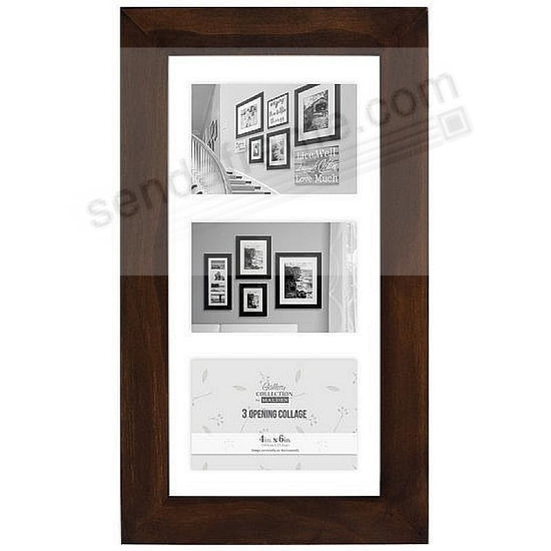 Stone Washed Walnut Wood Float Frame For 3 5x7 Prints By Malden