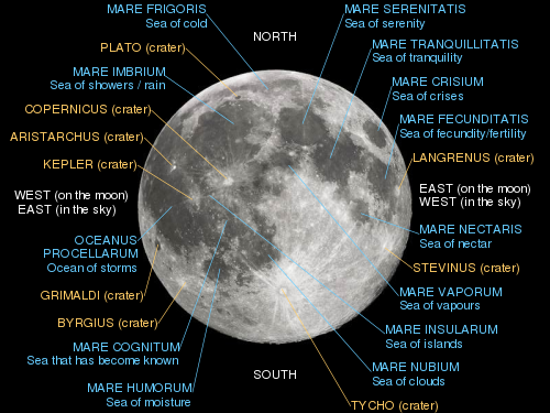 Lunar nearside with major maria and craters labelled.