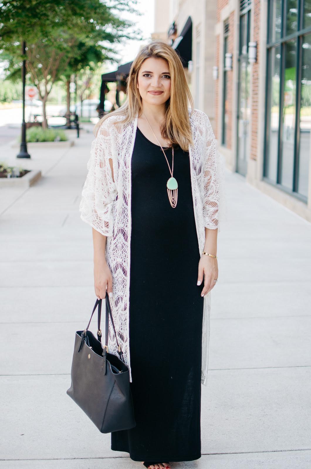 maxi dress kimono outfit lauren m