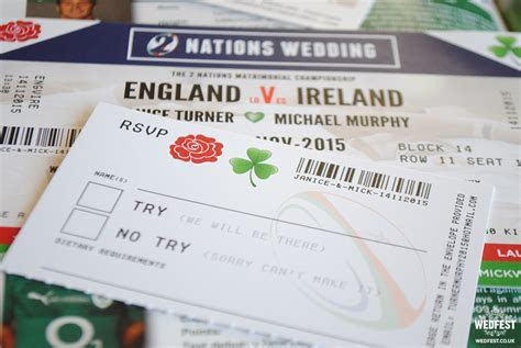 Ireland vs England Rugby Ticket Wedding Invitations   WEDFEST