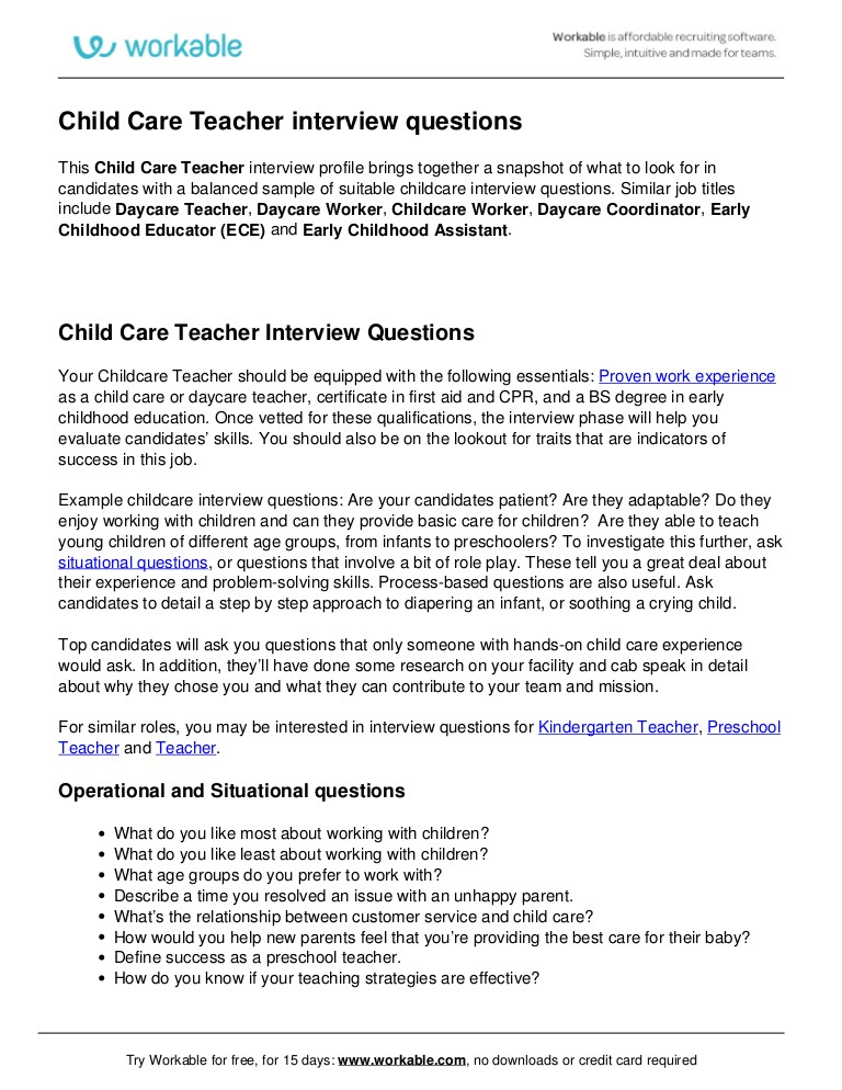 Child Care Interview Questions | charlotte clergy coalition