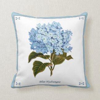 Vintage Blue Hydrangea Pillow