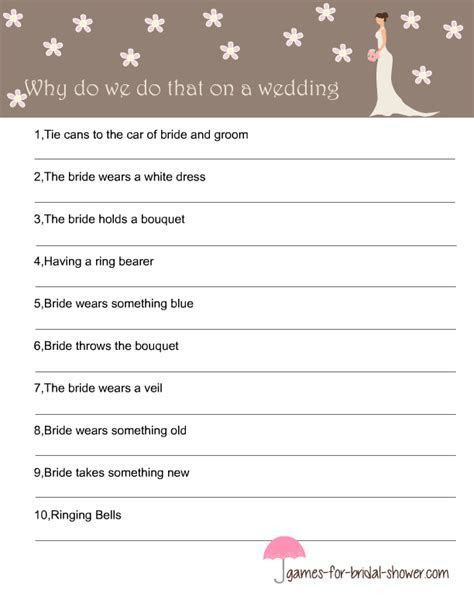 Free Printable Why Do we Do That, Game for Bridal Shower