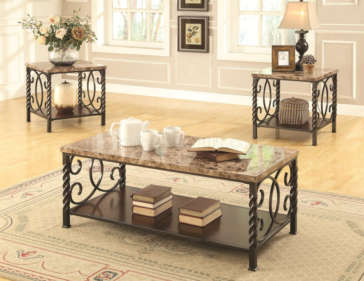 701695 Coffee Table 3Pc Set by Coaster w/Faux Marble Top