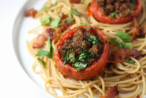 Spaghetti with Stuffed Roasted Tomatoes and Bacon