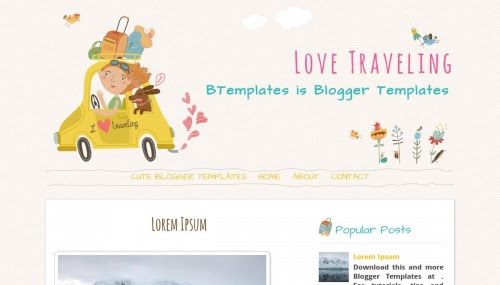 """Love Traveling"" Travel Blog Templates Free + Cute Design"