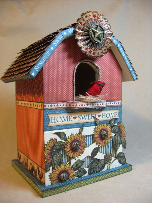 Place-in-Time-Barn-Birdhouse-Graphic45-Annette Green, tutorial, altered art, gift