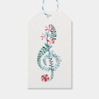 Botanical Treble Clef Gift Tags