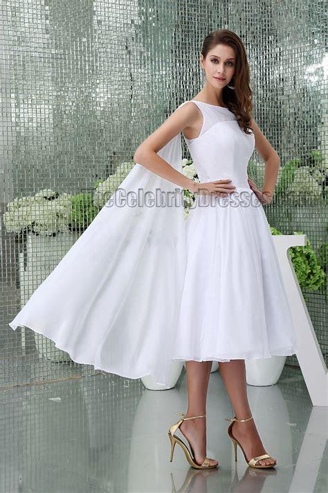 White Knee Length A Line Cocktail Short Wedding Dresses