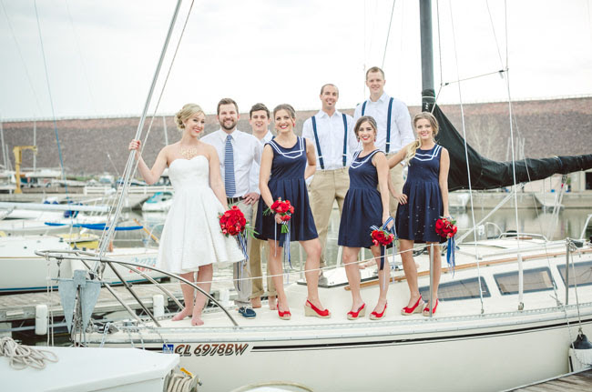wedding party on a boat