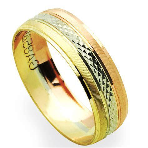 Men's 14K Tri Color Gold 6mm Dia Cut Wedding Band Plain