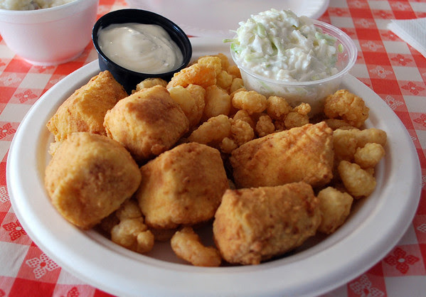 Baby shrimp and swordfish nuggets with cole slaw.