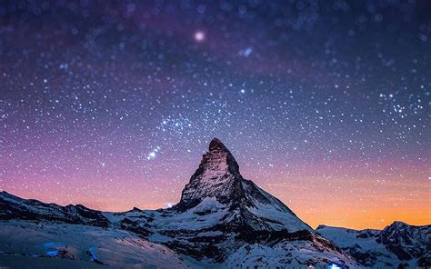 ma night stars  moutain nature papersco