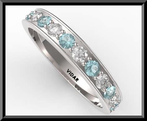 Womens Light Blue Aquamarine And Diamond Wedding band.half