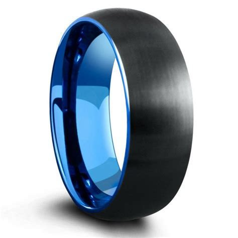 8mm Domed Black Brushed Tungsten Ring With Blue Interior