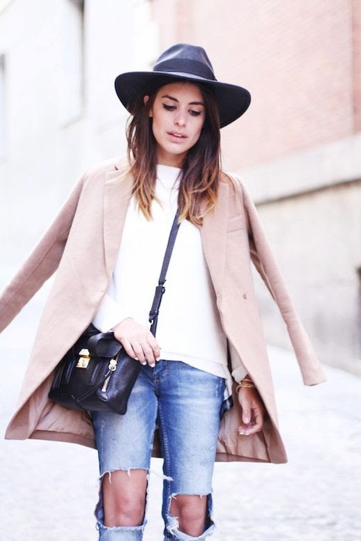 Le Fashion Blog Barcelona Blogger Style Fedora Hat Cat Eye Liner Ombre Hair Camel Coat Jacket White Sweater 3.1 Phillip Lim Mini Pashli Bag Ripped Knee Jeans 2014 1 photo Le-Fashion-Blog-Barcelona-Blogger-Style-Fedora-Hat-Ripped-Knee-Jeans-2014-1.jpg
