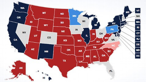 abc election map ll 121029 wblog PM Note: Rain Delay, ABC Moves Minn., Penn., from Solid to Lean, Tracking Poll Tie