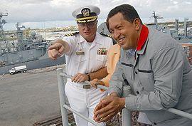 Hugo Chávez a bordo del USS Yorktown
