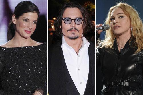 Sandra Bullock, Johnny Depp y Madonna completan el top  10