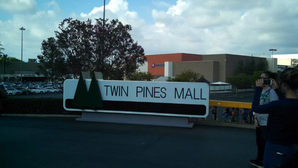 The Twin Pines Mall sign from BACK TO THE FUTURE on display at Puente Hills Mall in the City of Industry...on October 18, 2015.