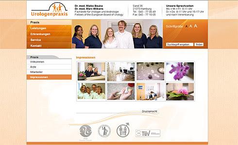 Webdesign-Agentur designbetrieb aus Essen entwickelt und relauncht  www.urologenpraxis.net